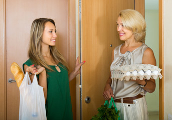 Women with food purchases at threshold