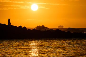Sunset at Ke'e beach on Kauai Island