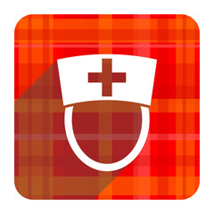 nurse red flat icon isolated