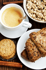 Breakfast with Coffee,Croissant and Crunchy Musli