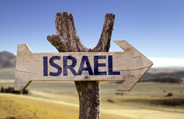 Israel wooden sign with a desert background