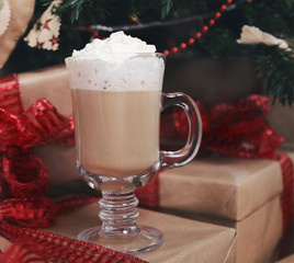 Hot chocolate under the Christmas tree