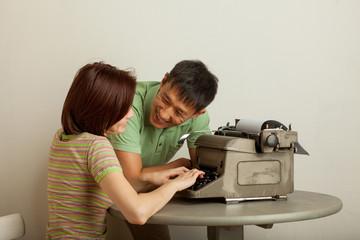 pair of prints on a typewriter