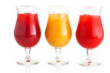 Colored Frozen Drinks on White Background