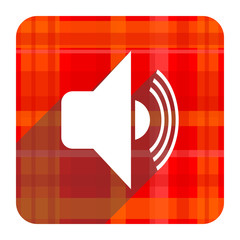 volume red flat icon isolated
