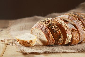 Loaf of assorted crusty fresh bread
