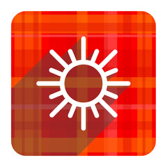sun red flat icon isolated