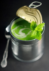 Opened tin of pea soup