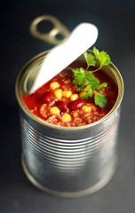 Opened can of wholesome vegetable soup