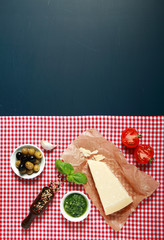 Food Ingredients on Checkered Table Cloth