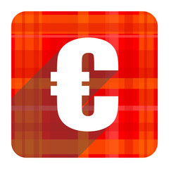 euro red flat icon isolated