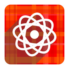 atom red flat icon isolated