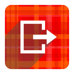 exit red flat icon isolated