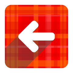 left arrow red flat icon isolated