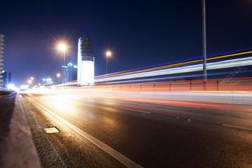 Skytrain at night in Bangkok, Thailand, long exposure