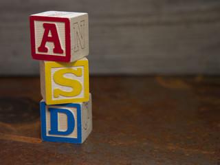 Autism Spectrum Disorder (ASD) alphabet blocks