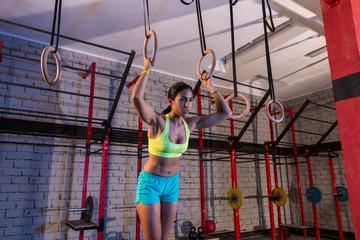 dip ring girl woman workout at gym