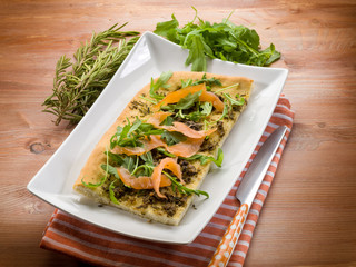 focaccia with smoked salmon arugula and rosemary