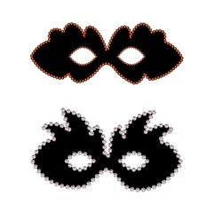 Black carnaval masks with diamond border isolated on white