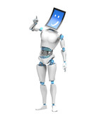 robot with digital tablet with a smile face