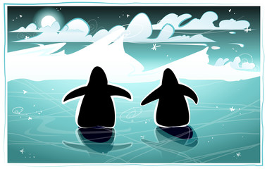 Two penguins walking in the arctic night