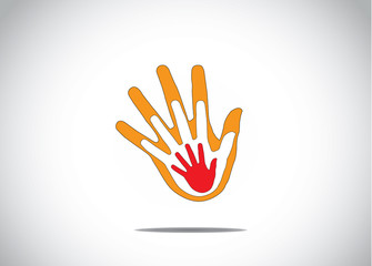 gradient red orange hand together family support love