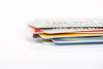 Group of credit cards on white backround