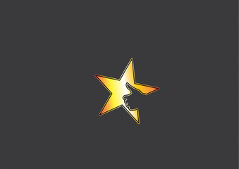 yellow golden colorful star icon thumbs up achiever hand symbol