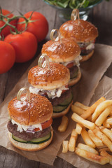 Mini hamburgers with french fries