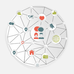 social network abstract concept with icons