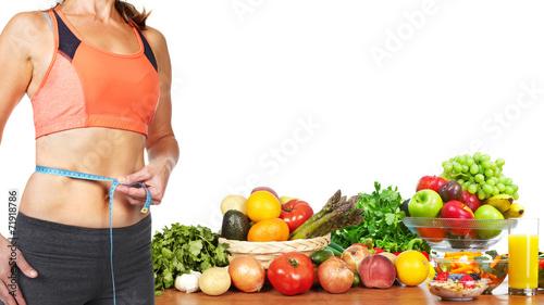 Leinwandbild Motiv Woman measuring her body