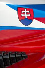 Slovenian flag on race car