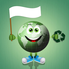 Funny smiling green earth