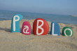 Pablo, masculine name on colored stone letters