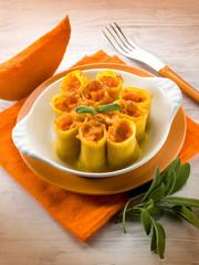 paccheri with pumpkin and mozzarella