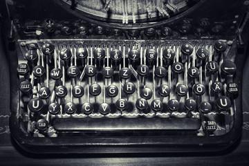 antique typewriter keys, shallow focus
