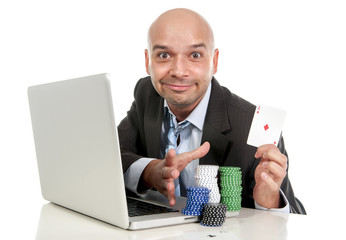 happy businessman on computer making money internet gambling