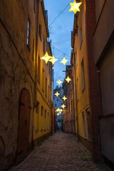 Narrow street in old center of Riga, Latvia