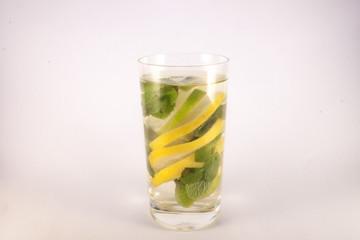 Glas full of lemon, lime and mint