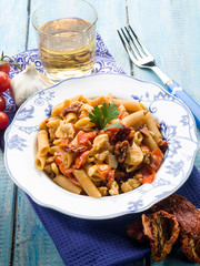 pasta with fish ragout and dried tomatoes