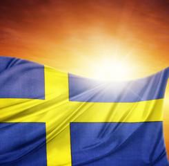 Swedish flag and sky