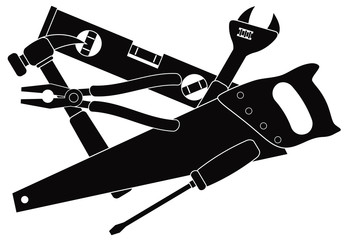 Contruction Tools Black and White Illustration
