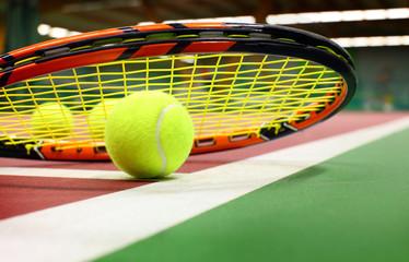 .Tennis ball on a tennis court
