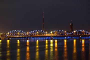 Night lights in Riga, Latvia