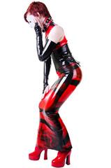 Woman dressed in dominatrix cloth