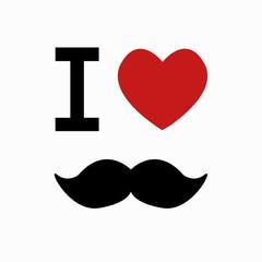 Vector mustache simbol on white background.