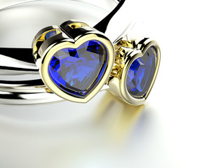Engagement Ring with heart shape sapphire. Jewelry background