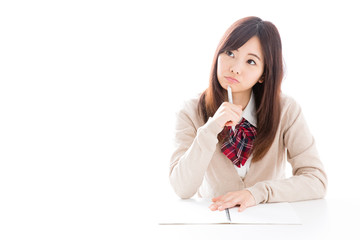 young asian woman studying on white background