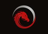 Dragon red logo vector