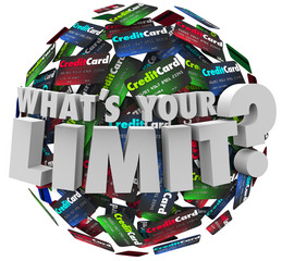 What's Your Limit 3d Words Credit Card Account Line Over Extende